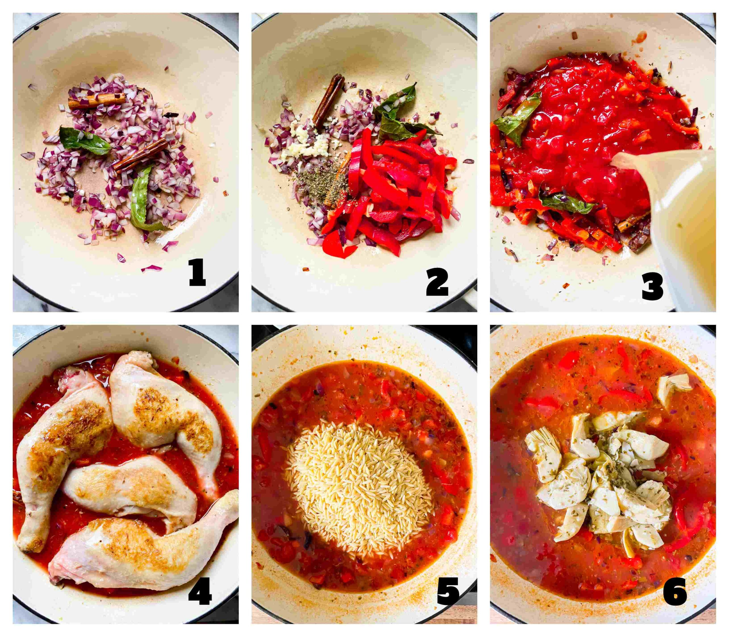 chicken and orzo recipe process images