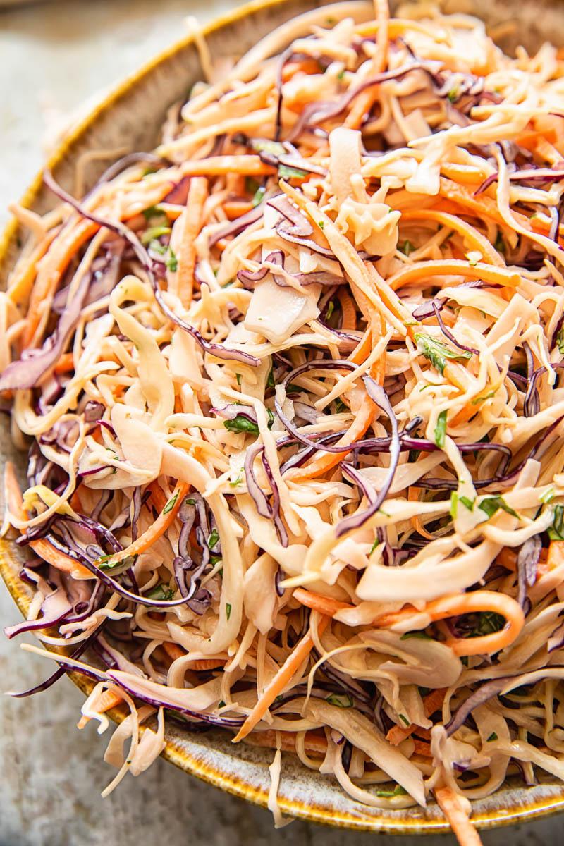 top down view of coleslaw