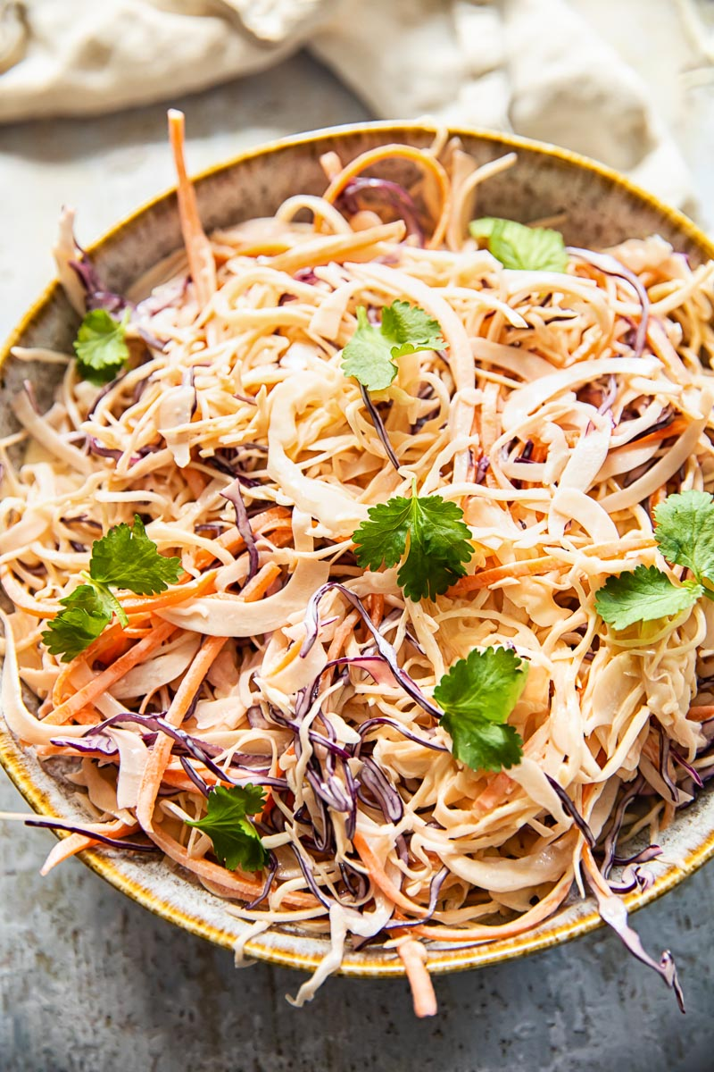 top down view of coleslaw in a bowl