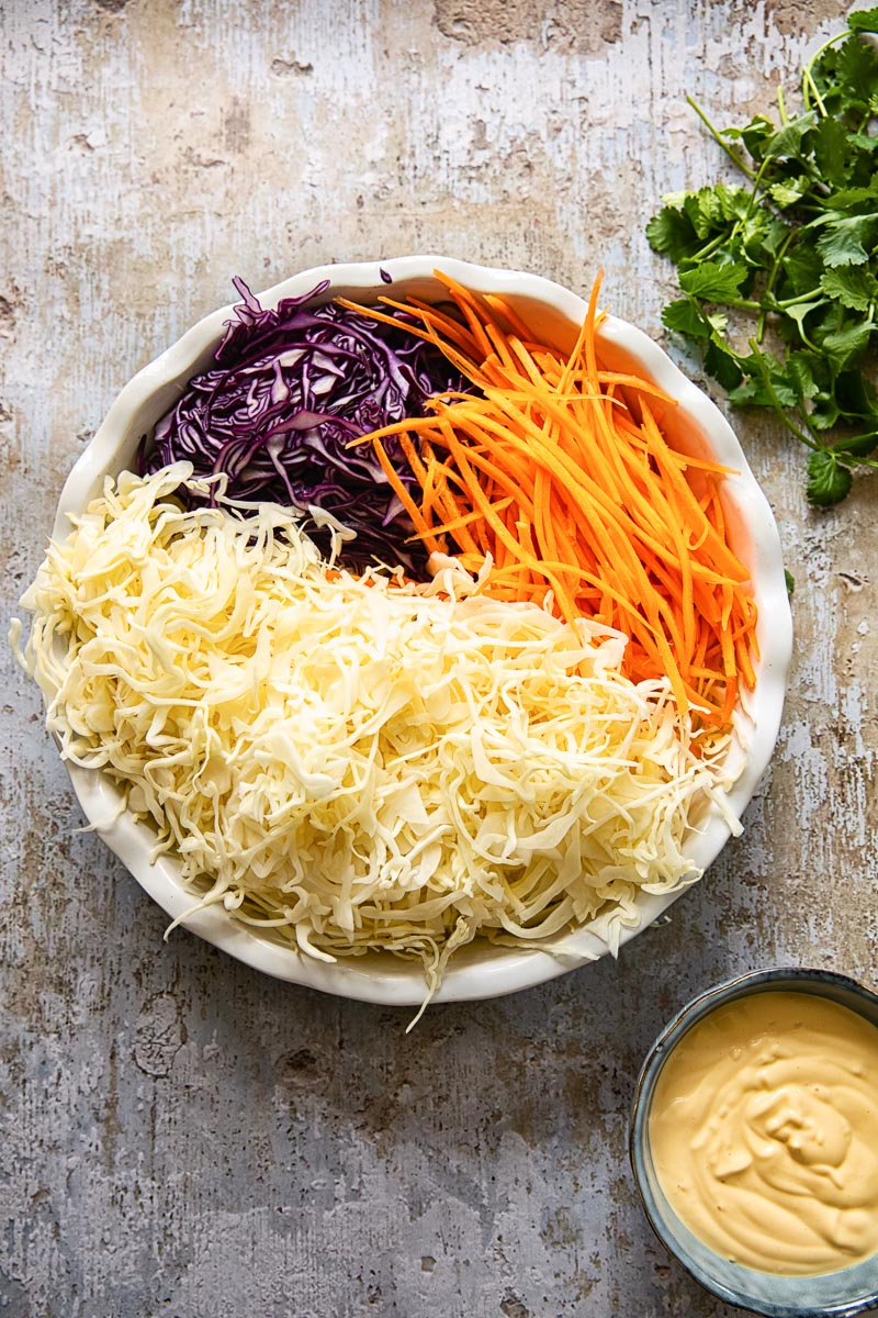 coleslaw ingredients and the dressing