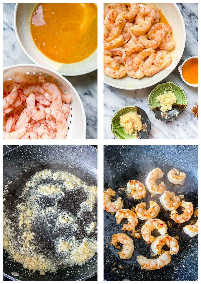 honey garlic shrimp process images.
