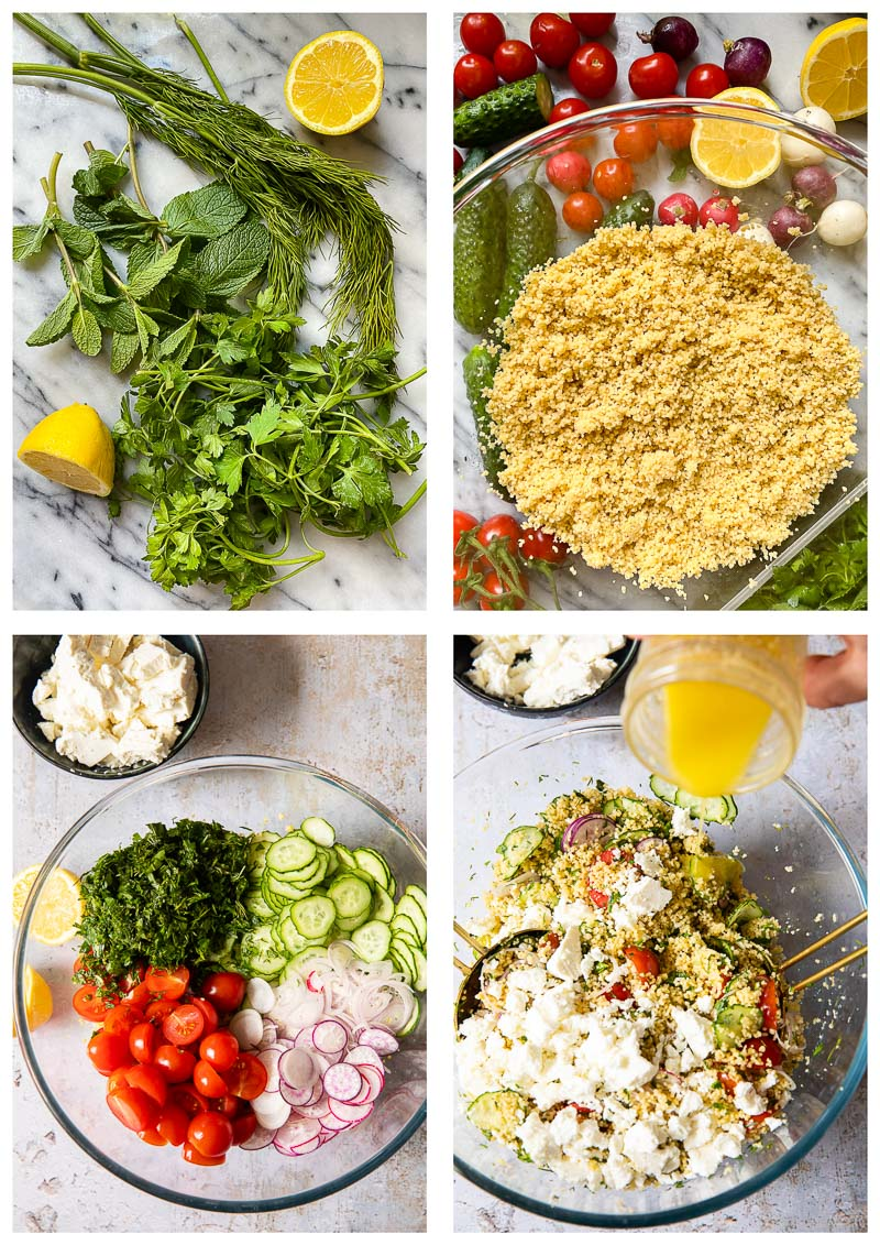 couscous salad ingredients and process images