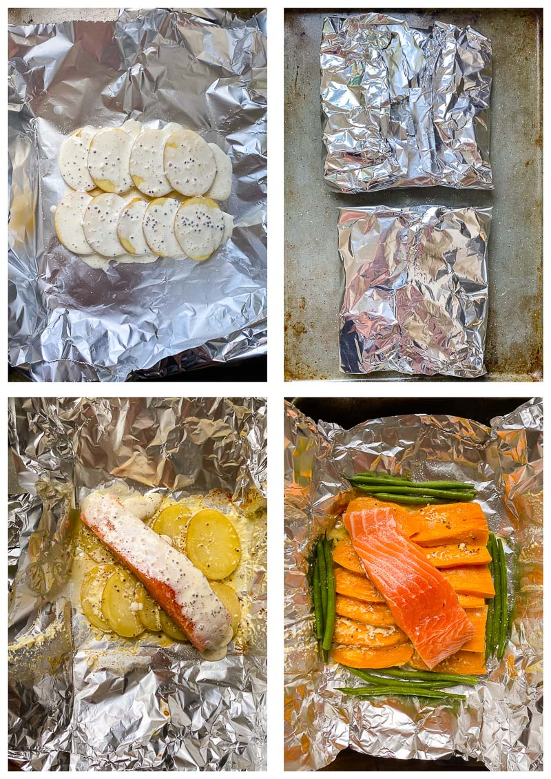 salmon in foil recipe process images