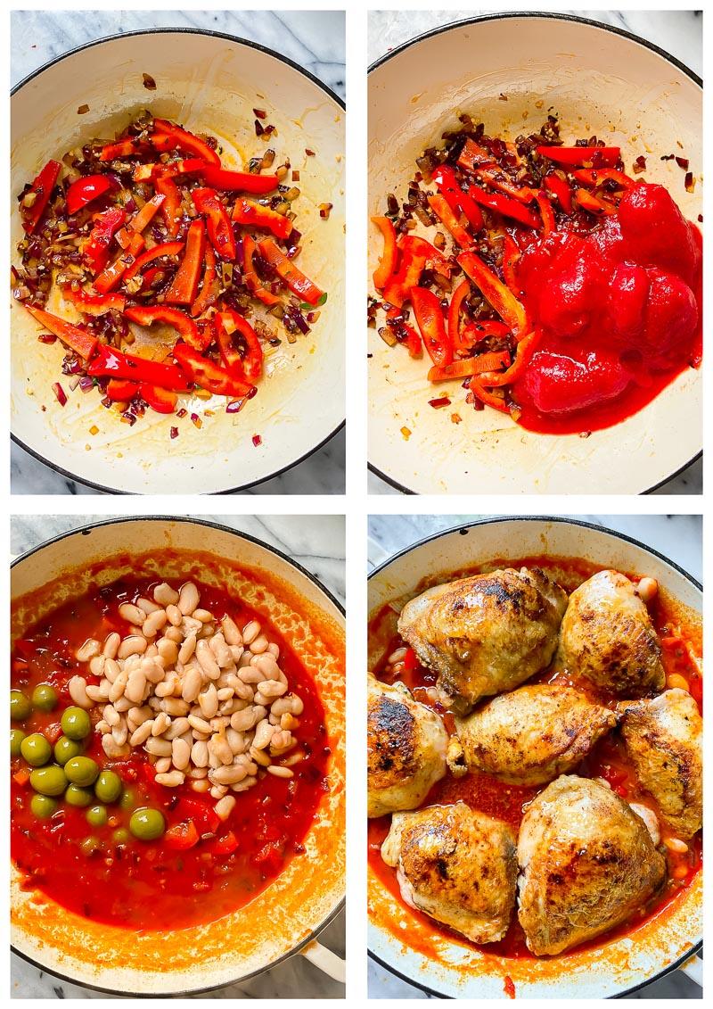 Spanish chicken recipe process images