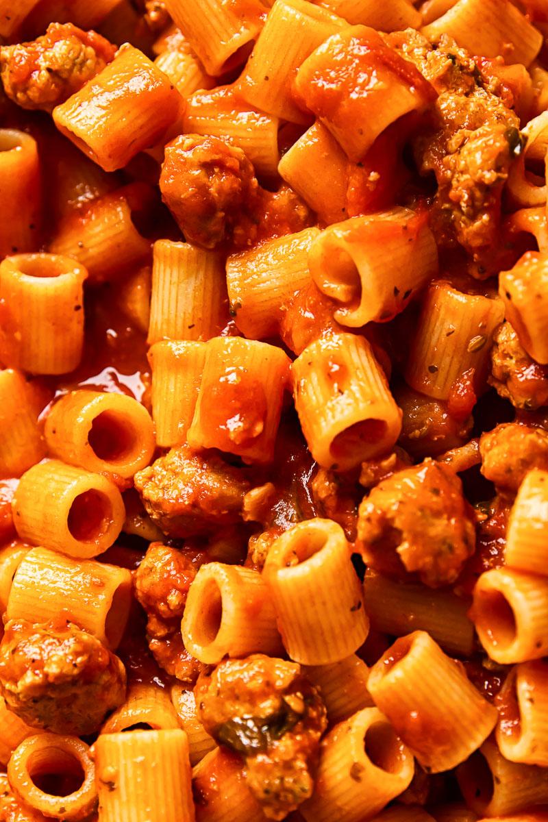 close up of sausage pasta