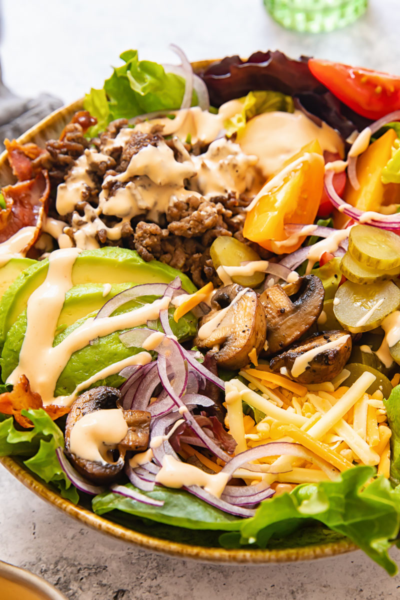 loaded burger in a bowl salad