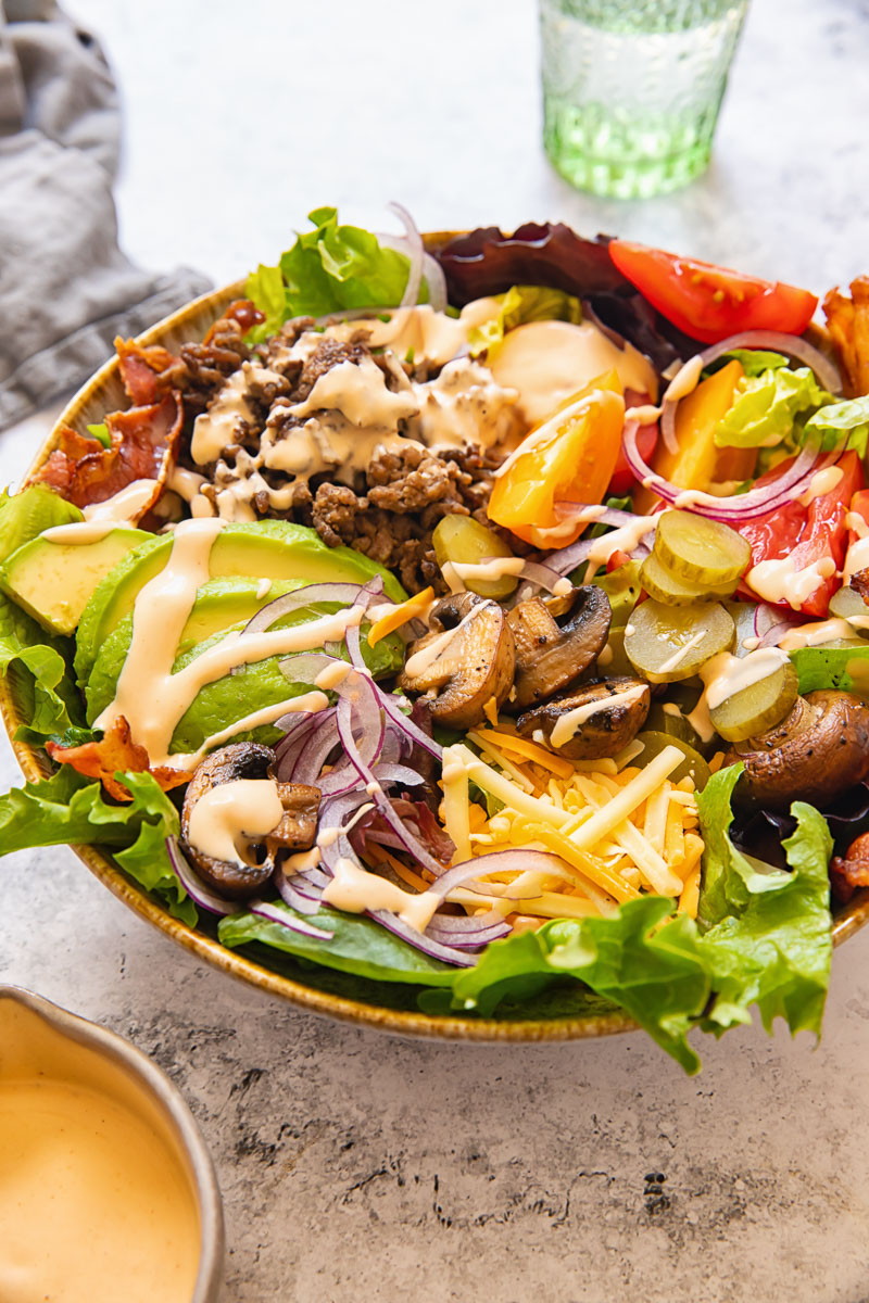 side view of burger in a bowl