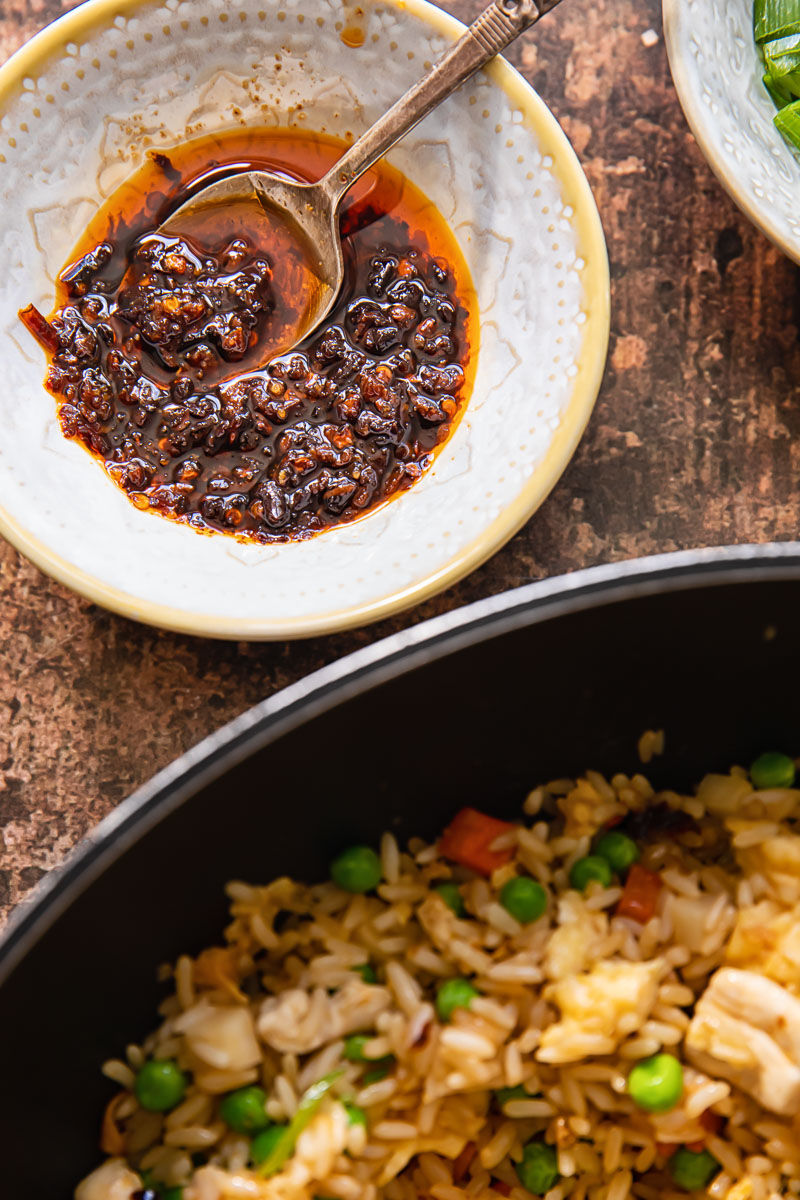Chinese chilli oil and fried rice in a pan