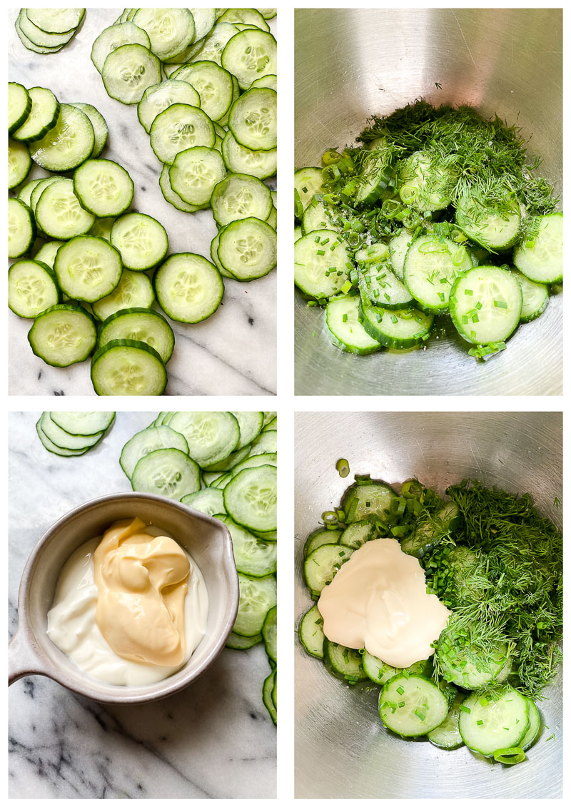 cucumber salad ingredients and process images