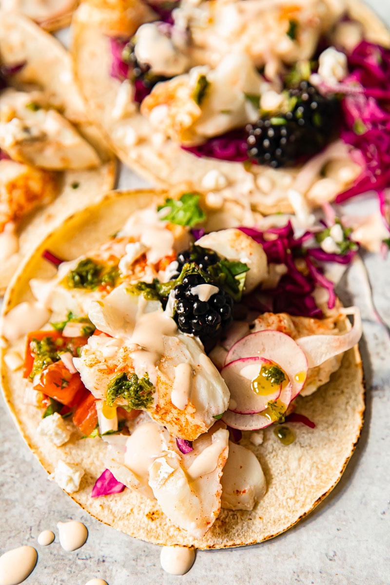 fish taco closeup