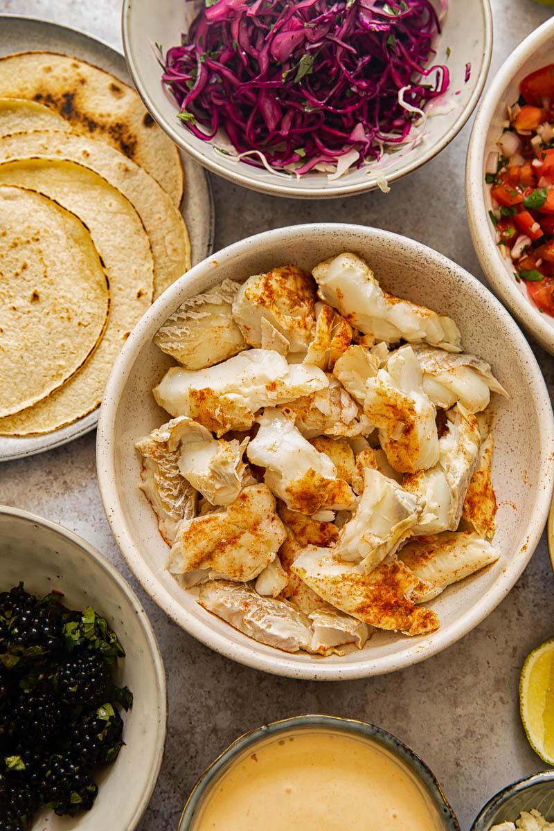 fish tacos components