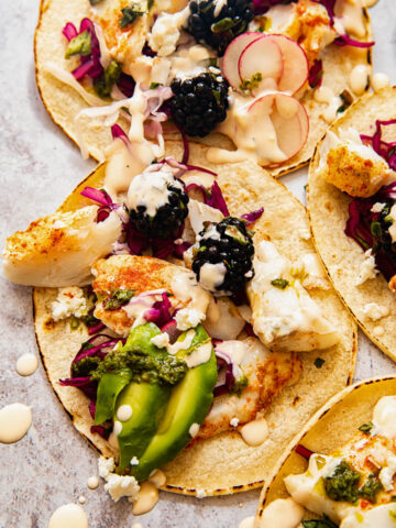 top down view of fish tacos