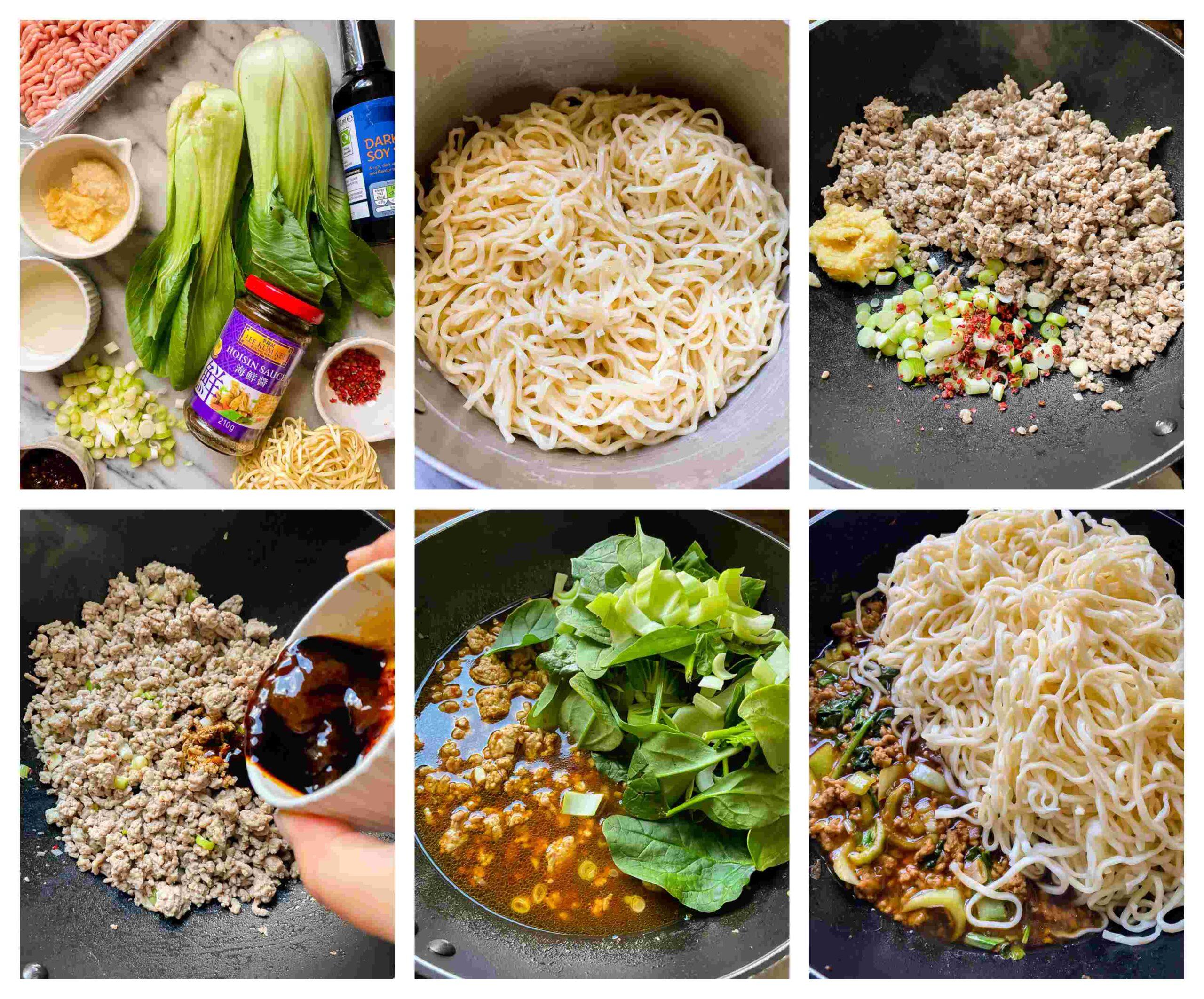 pork dandan noodles recipe process images