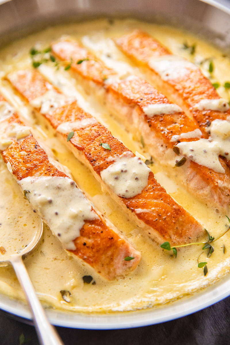 salmon fillets in creamy mustard sauce