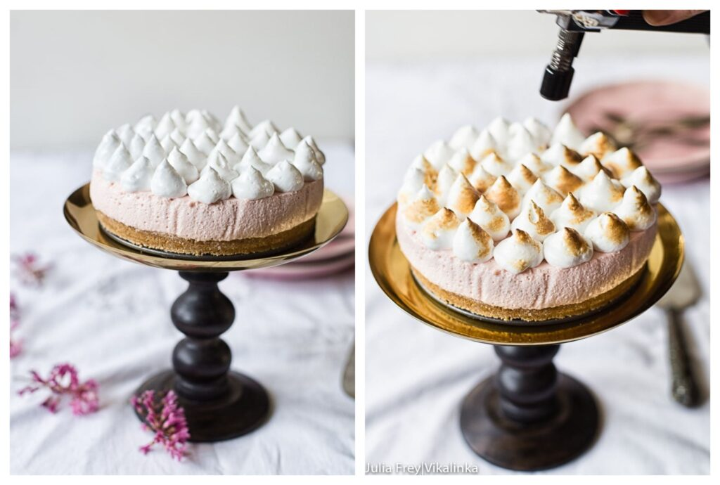 Process shots of assembled cheesecake having meringue blow torched