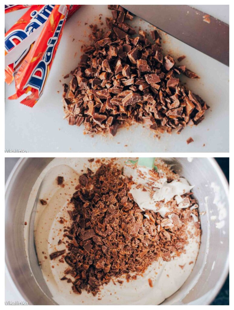 Two photos showing chopped chocolate bar and in mixing bowl to be combined with other ingredients