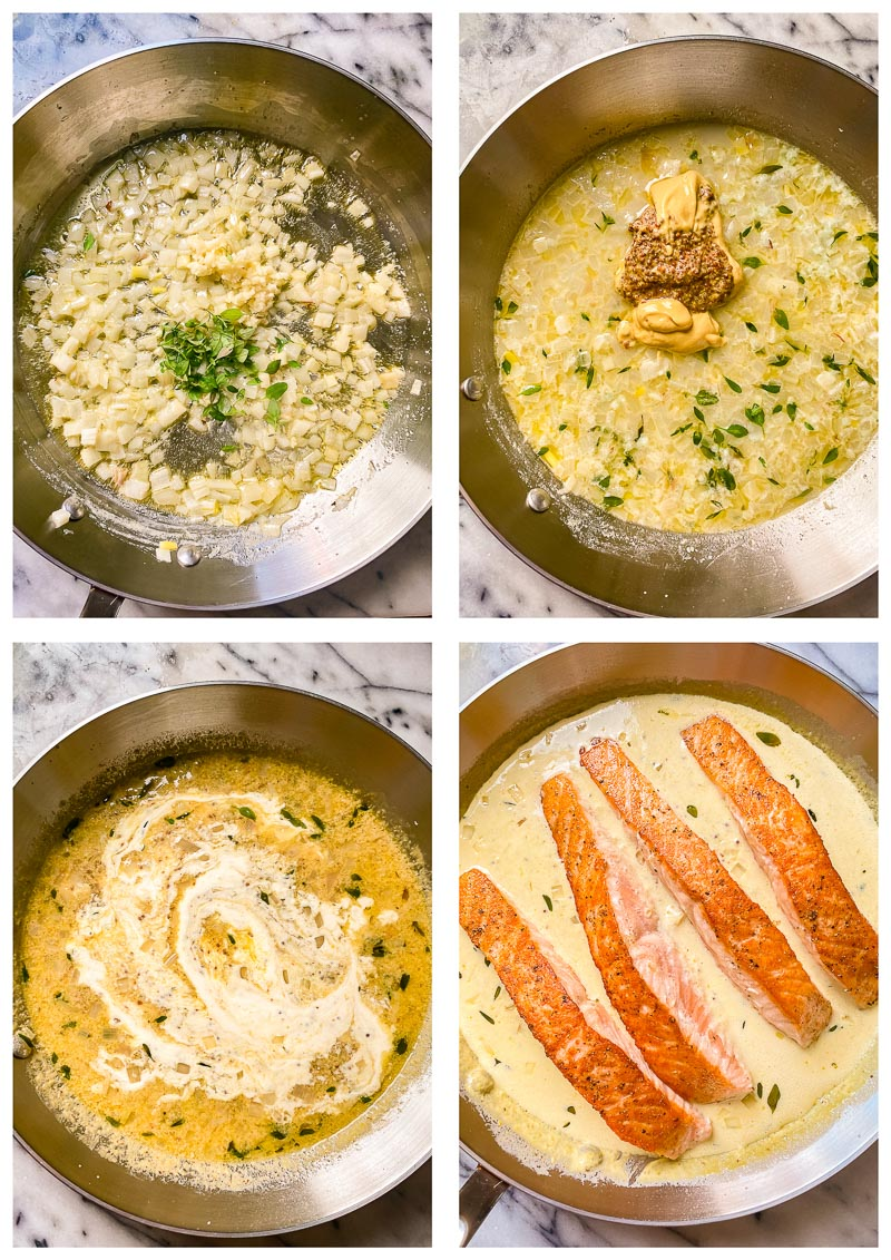 salmon and mustard cream sauce process images