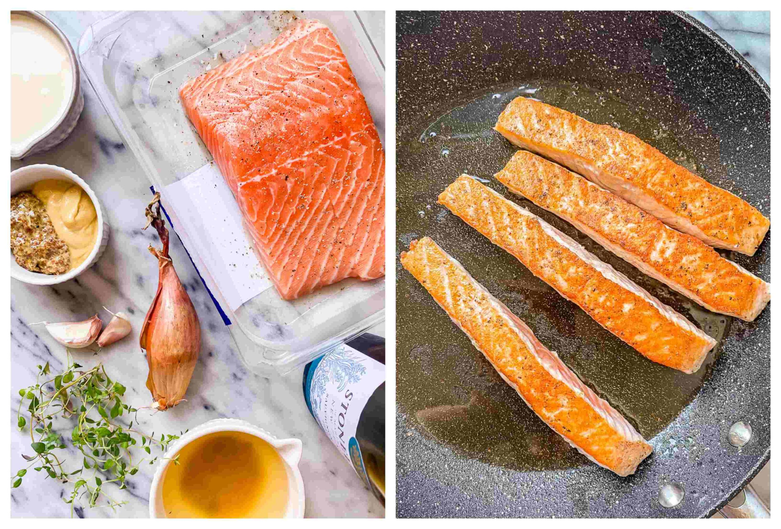 pan seared salmon recipe process images