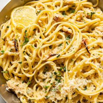 linguine with crab in a stainless steel pan