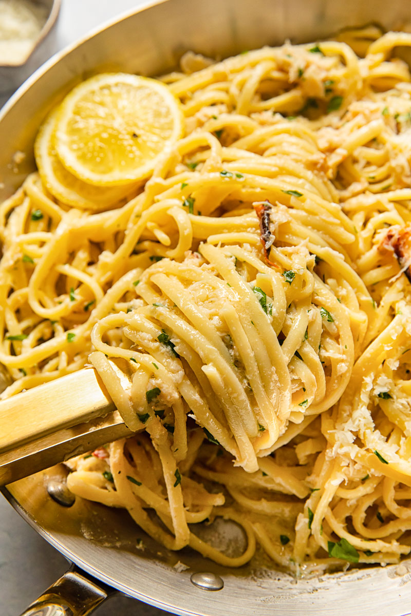 close up of crab pasta in a pan