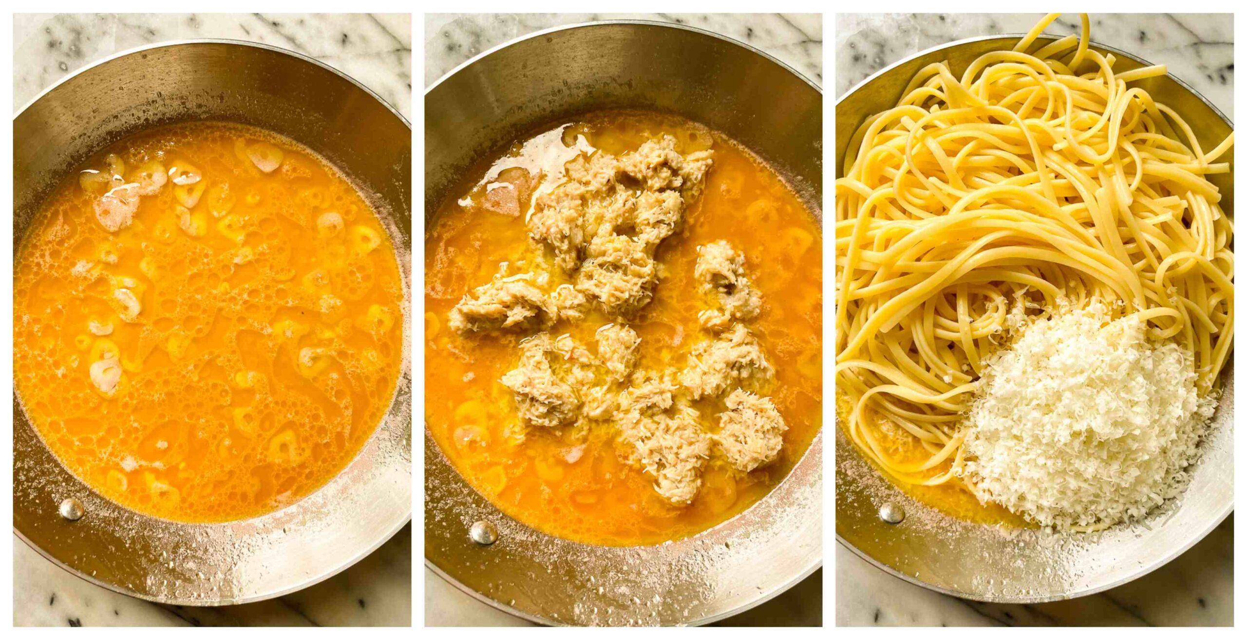 crab pasta recipe process images