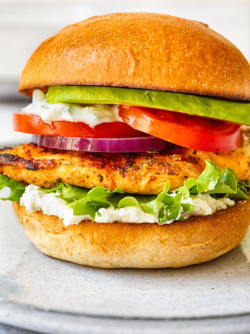 side view of grilled chicken burger with lettuce, onion, tomato and avocado