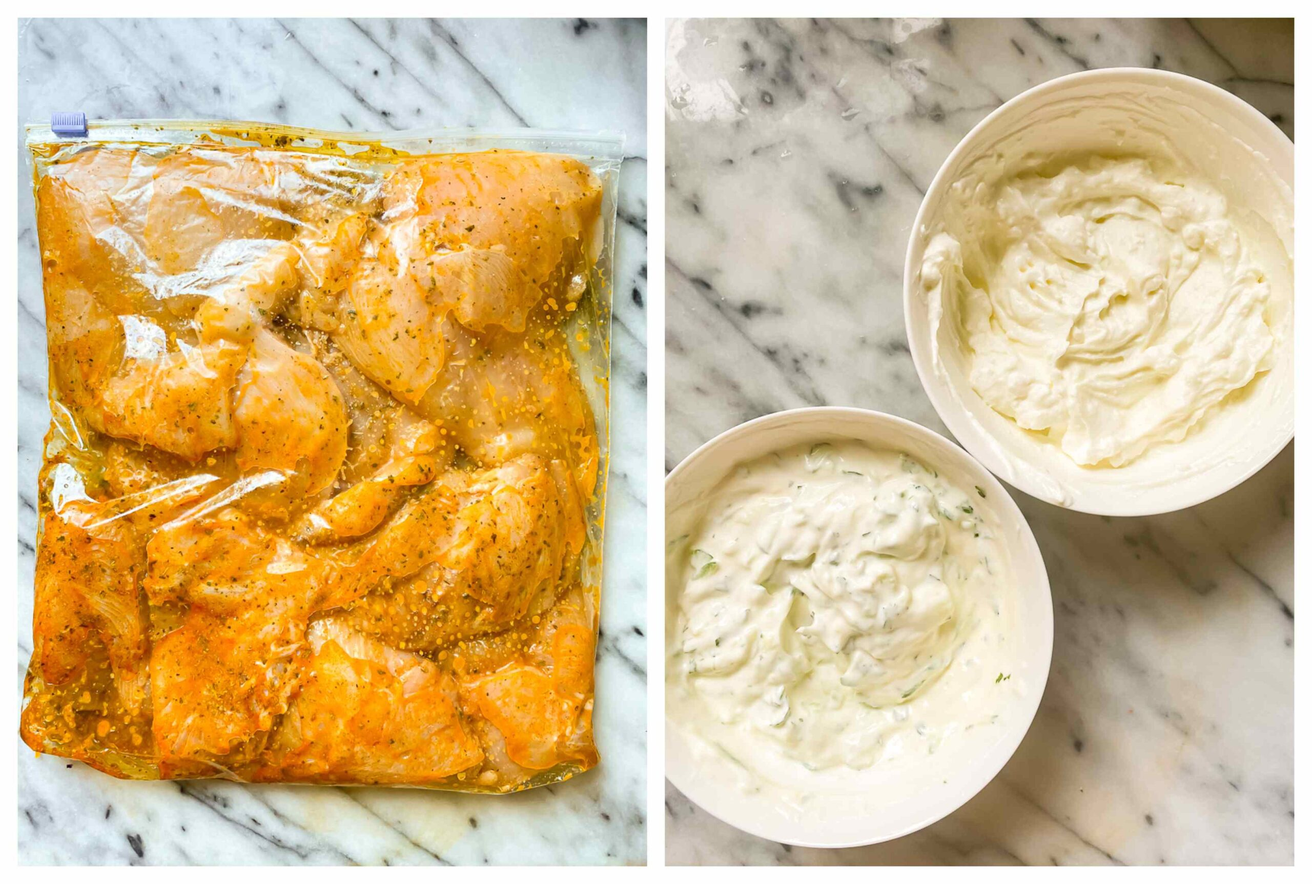 chicken breasts in a marinade in a ziploc bag, two bowls with feta spread and tzatziki