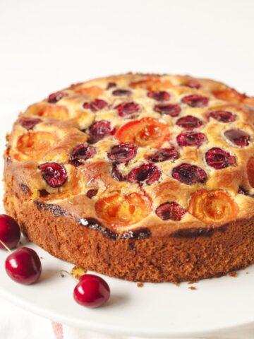 side viewcherry apricot cake