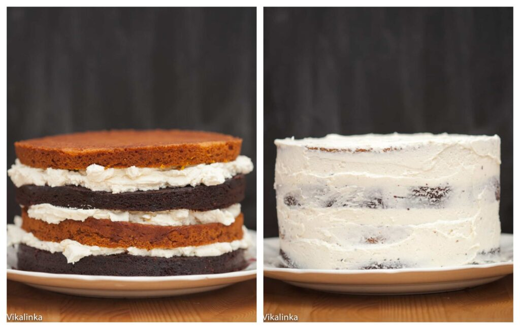 Two process shots showing layers and then with first icing coat