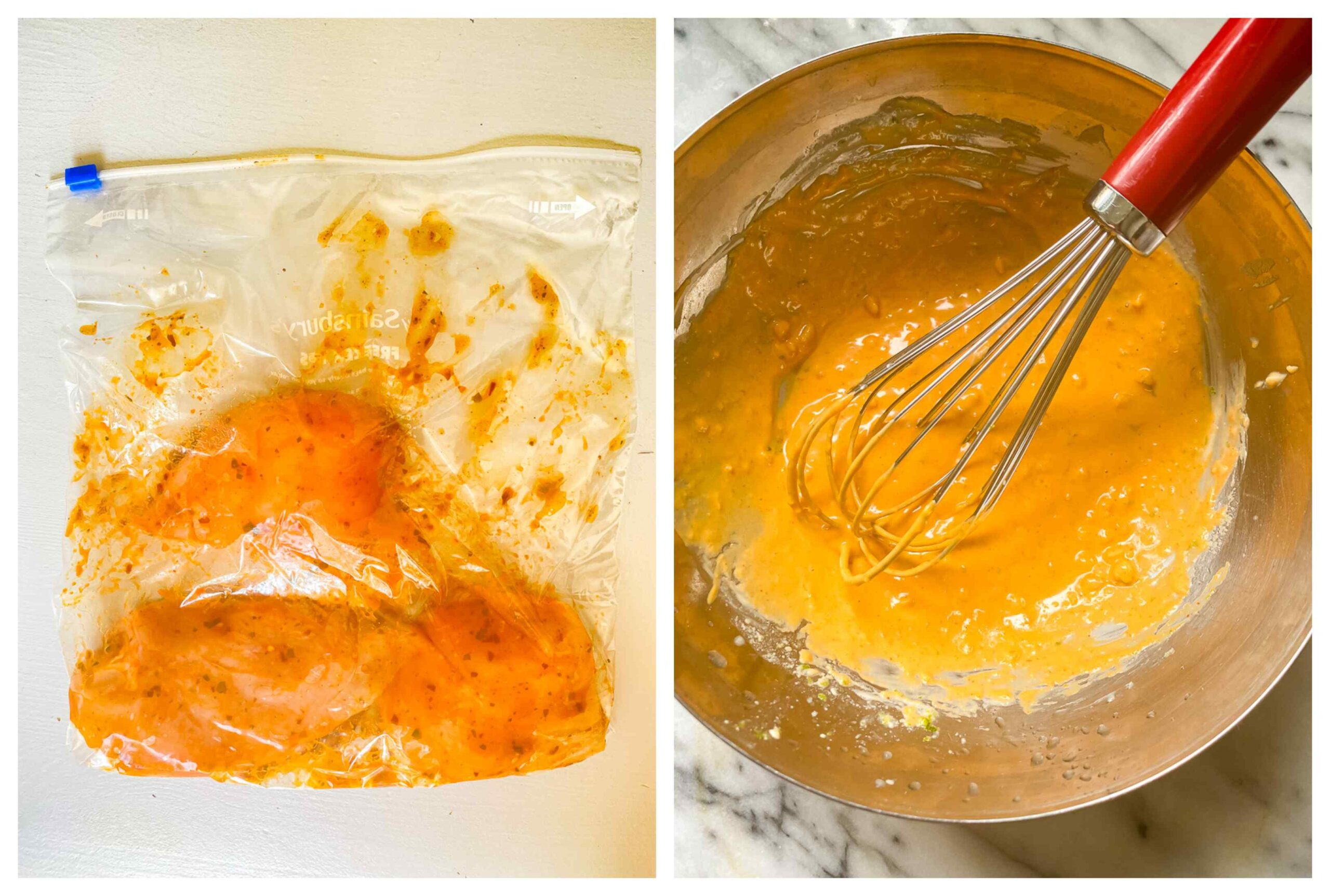 chicken breasts in marinade in ziploc bag, peanut sauce in a bowl with a whisk