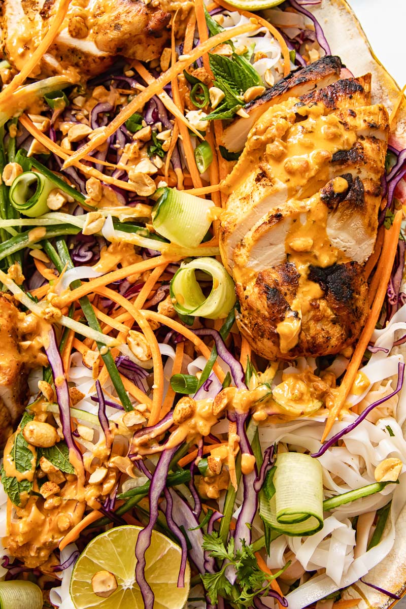 close up of grilled chicken salad