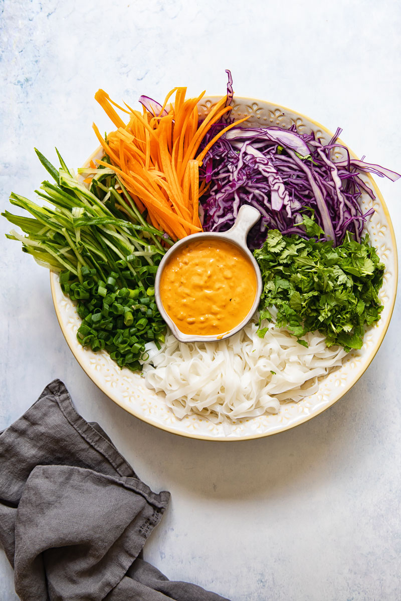 rice noodle salad ingredients in a bowl