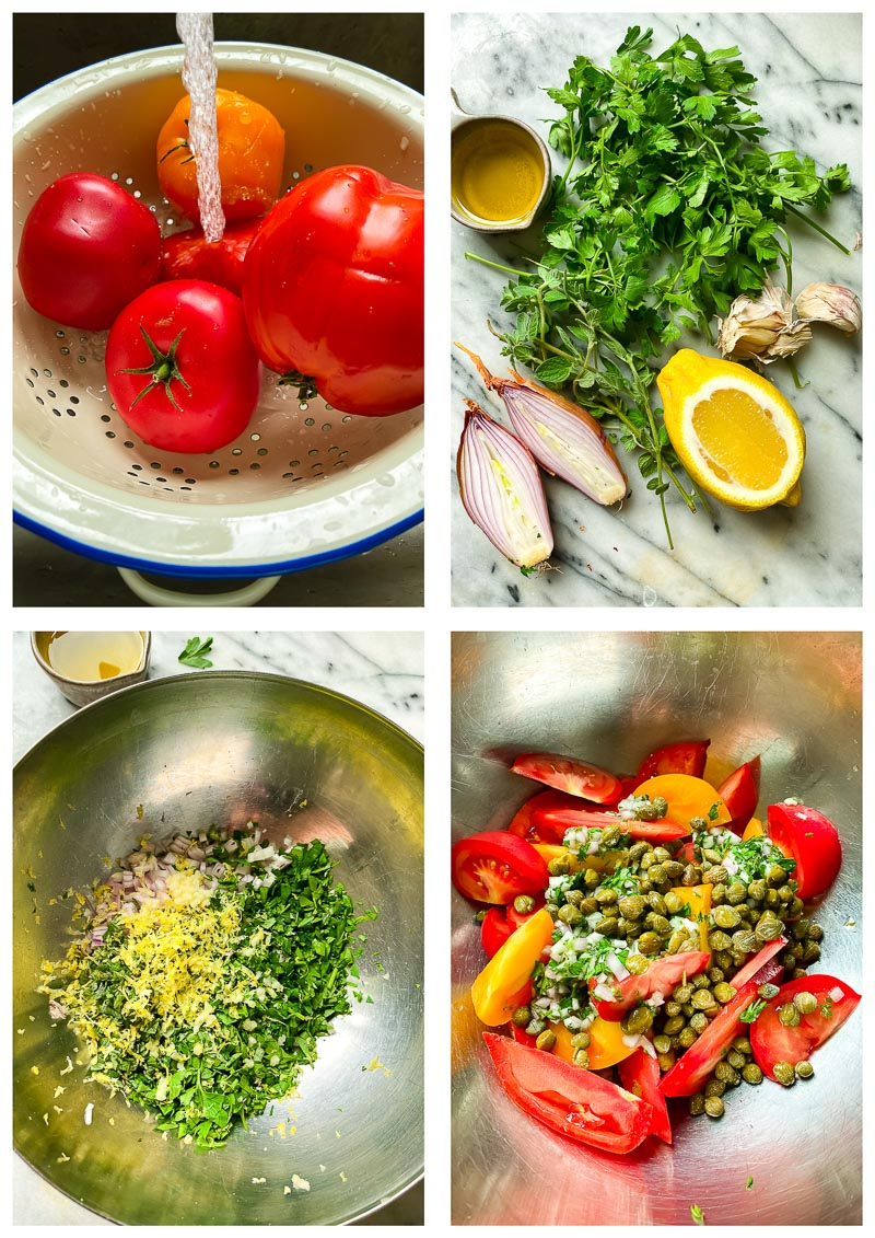 tomato salad ingredients and process images