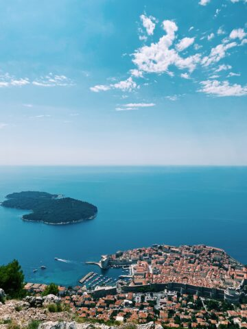 View of the Adriatic and Dubrovnik seen from a mountain