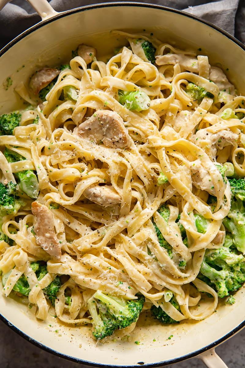 top down view of chicken broccoli alfredo pasta