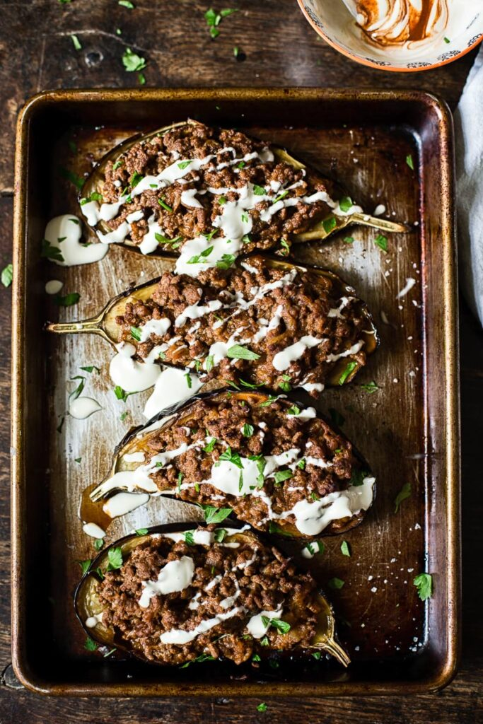 top down view of stuffed eggplant