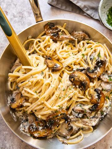 top down view of mushroom pasta in a pan