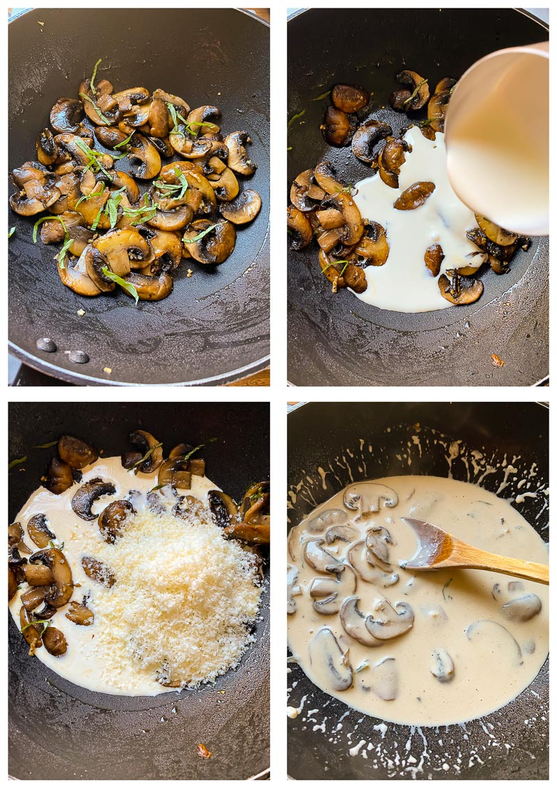 mushroom pasta process images