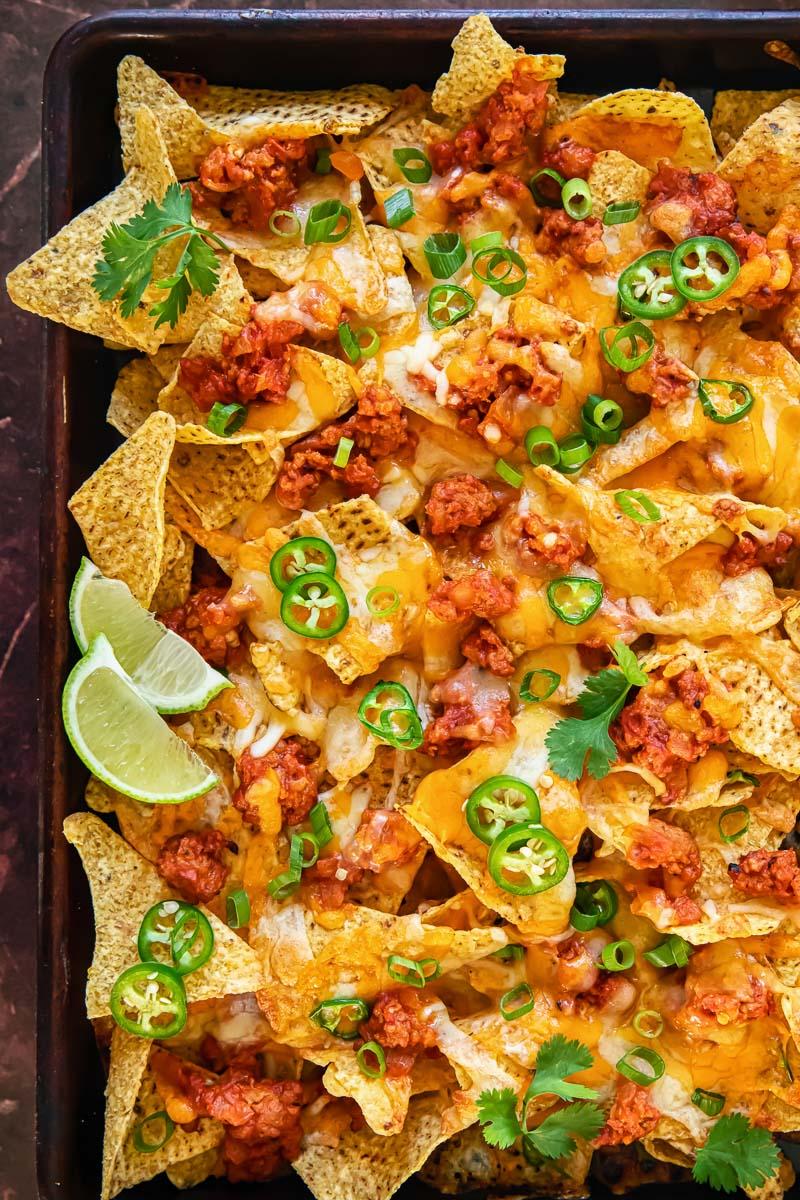 nachos on a baking tray