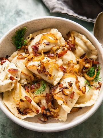 Ukrainian dumplings in a bowl
