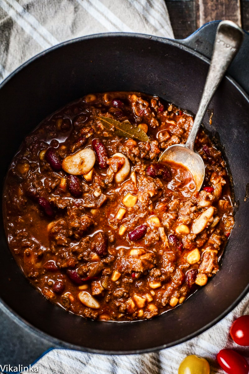 top down view of chili in a pot