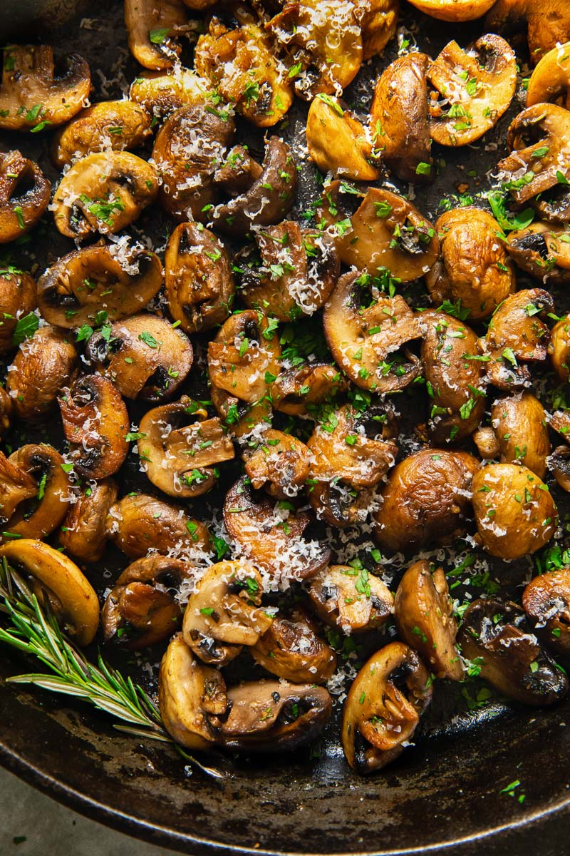 fried mushrooms sprinkled with Parmesan and rosemary