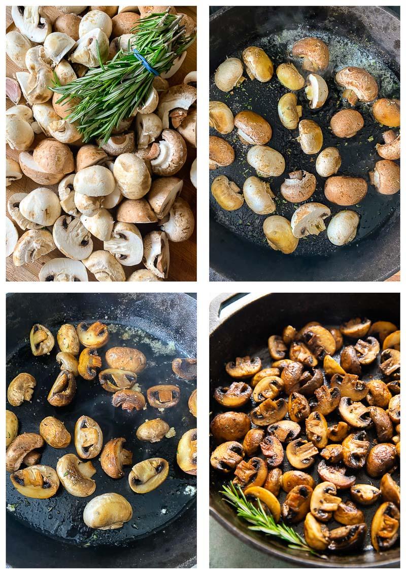 pan fried mushrooms process images